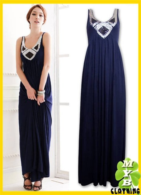 Free Shipping [ Wholesale & Retail ] Fashion Sequin Bling Blue Color Gorgeous Vintage Maxi Dress MYB5185