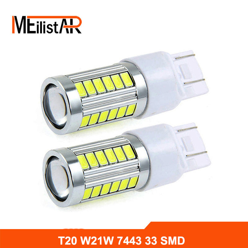 2pcs Car led W21/5W 7443 T20 33 LED 5630 5730 SMD car rear light stop bulbs auto brake lights back lamps Turn signals 1x car led t20 7443 w21 5w auto rear light stop bulbs 21 5w external brake lights replacement halogen car styling parking lights