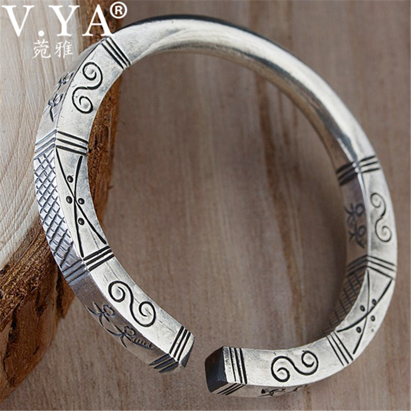 V.YA Ancient Egypt Pattern Silver Bracelet for Women Solid 990 Sterling Silver Open Bangles Bracelets Jewelry High Quality ancient egypt
