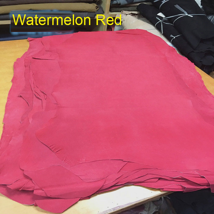 Watermelon Red Genuine pig skin split shoes lining   suede     leather   material sale by whole piece