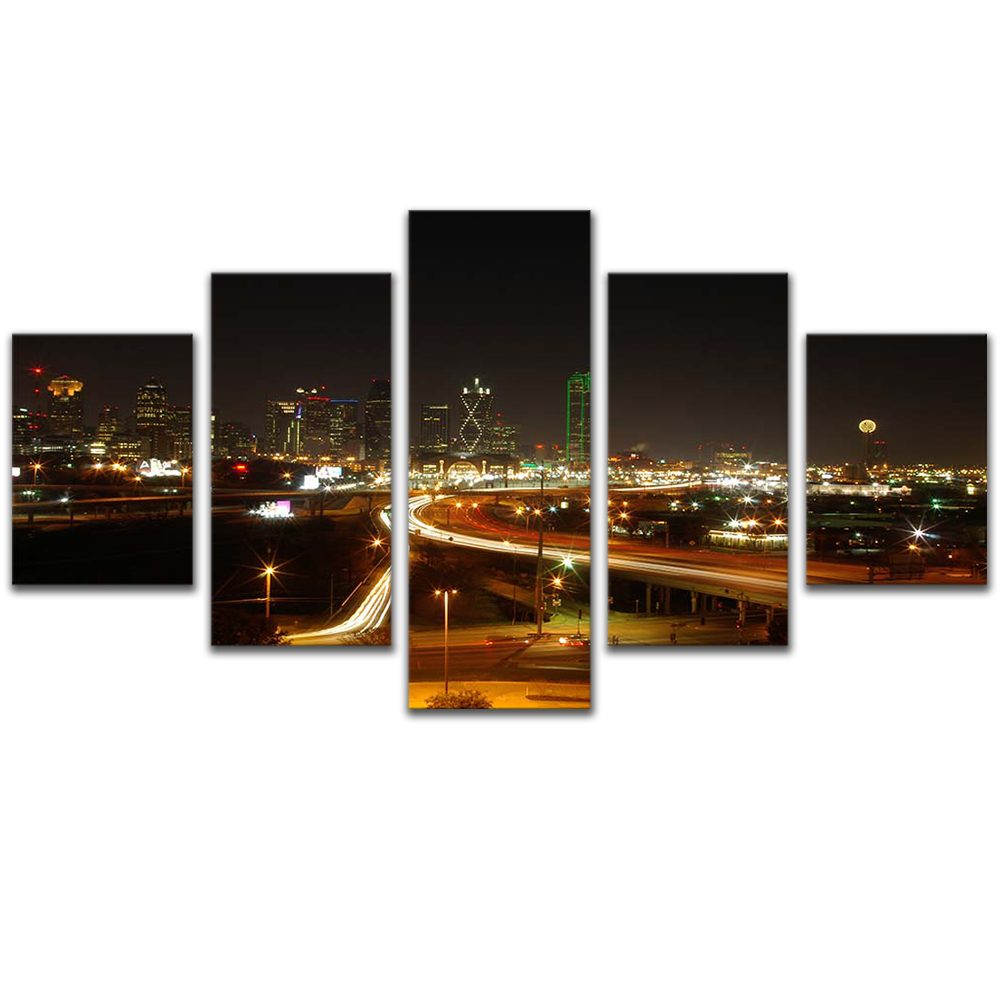 Unframed Canvas Painting City Building Night View Bridge Photo Picture Prints Wall Picture For Living Room Wall Art Decoration