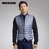MISUN Suit Short Design Thin Stripe Stitch Stand Collar Winter Vest Men Slim Single Breasted Pocket