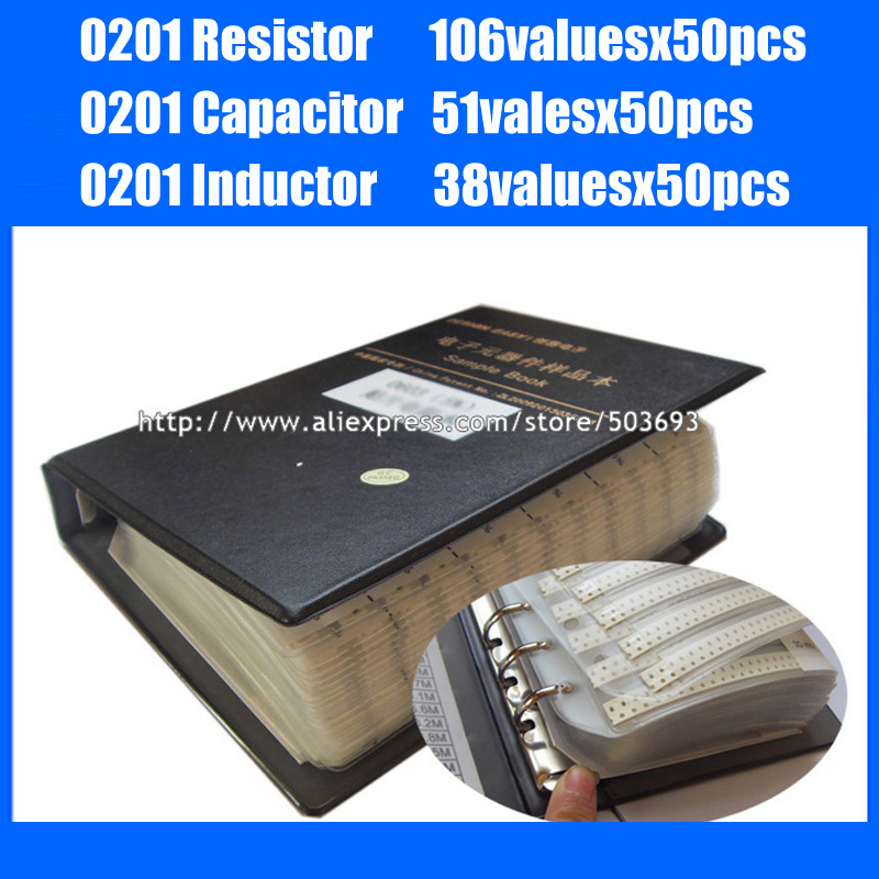 New 0201 SMD Resistor 5% 106valuesx50pcs + Capacitor 51valuesX50pcs + Inductor 38valuesx50pcs Sample Book-in Resistors from Electronic Components & Supplies