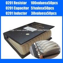 Nuovo 0201 SMD Resistenza 5% 106valuesx50pcs + Condensatore 51valuesX50pcs + Induttore 38valuesx50pcs Campione Libro