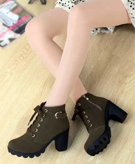 2018 New Thick Heels High Shoes Women  Heels Women's Boots Thick Heels and Martins Boots 35-41