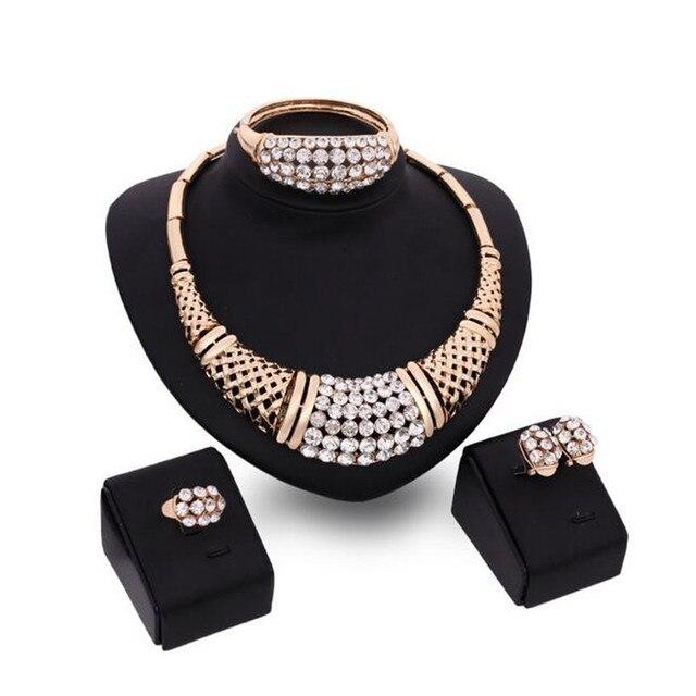 3 Colores de la boda conjuntos de joyas de Oro de Oro Collar Pendientes Pulseras Anillos conjuntos de Perlas Africanas Sistemas de La Joyería S0203
