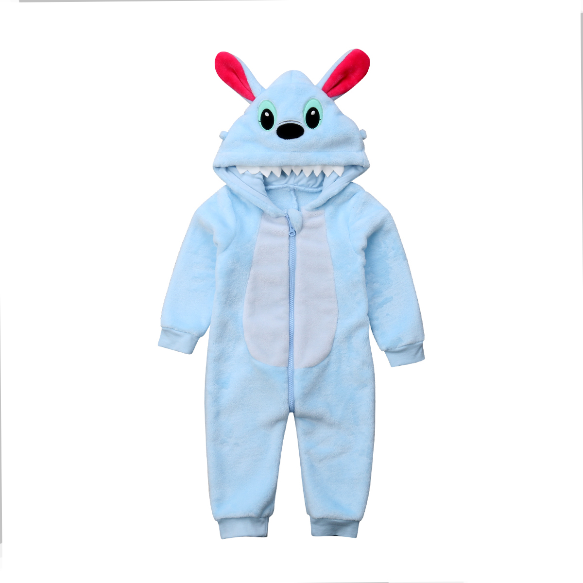Newborn Kids Baby Boys Long Sleeve Stitch Zipper Hooded Romper Jumpsuit Outfits