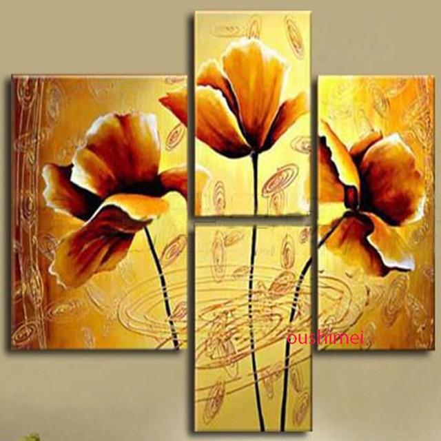 Quadros Pintados A Mao Flores Amarelas Pinturas A Oleo Sobre A Arte
