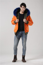 New desgin waterproof both sides wear cotton jacket with real raccoon fur collar mens short parka