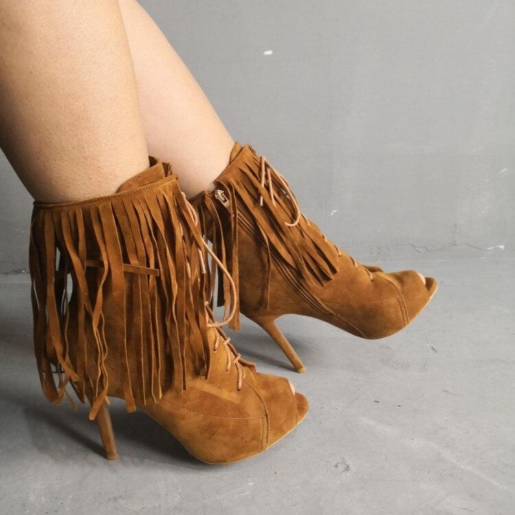 5 Toe Zapatos Moda Tamaño Yifsion Camel Verano D1144 Nuevo Mujeres Tacones Botas Nosotros 15 Tobillo Las Stiletto Peep Camello Altos De OOzwTxPa