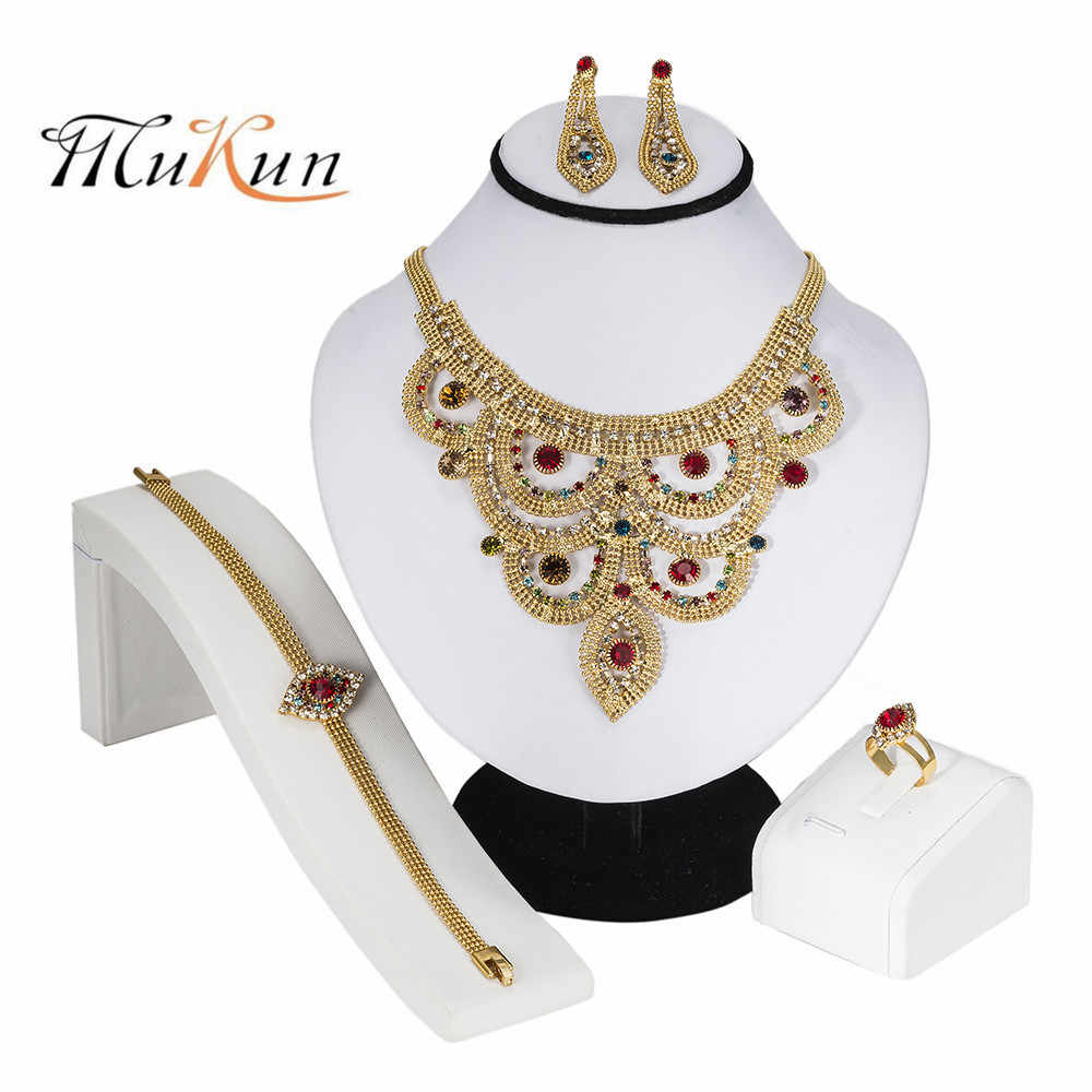 MUKUN Vintage Style Gold Color Colorful Rhinestone Crystal Necklace Ring Bracelet Earrings Jewelry Set Party Costume Accessories
