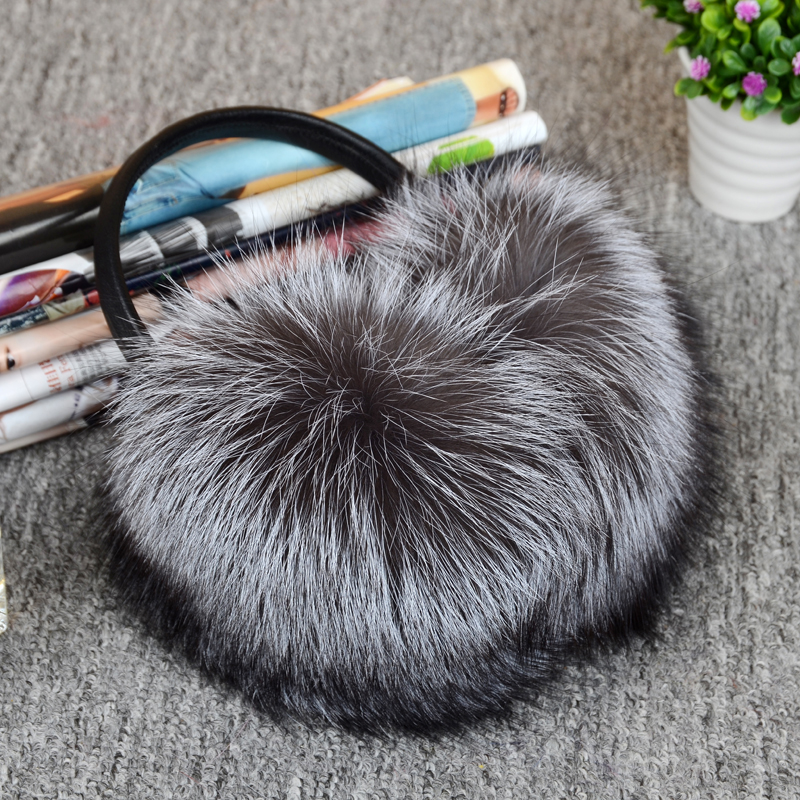 MIARA.L 2019 New Super Large White Leather Fox Fur Earmuffs Ear Bags Ear Earmuffs Ear Warm Ear Protection Warm For Men And Women