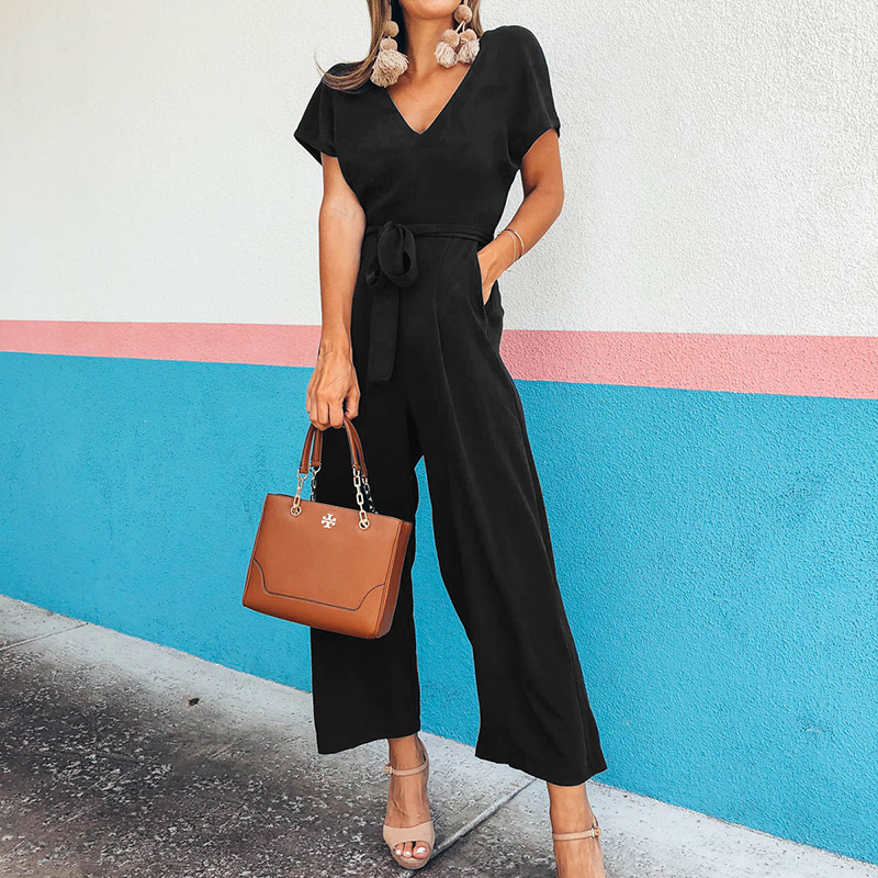 2019 New Casual Solid Women V-Neck Jumpsuit Female Office Lady Overall Ankle-Length Wide Leg Pants Pockets Sashes   Rompers   GV364