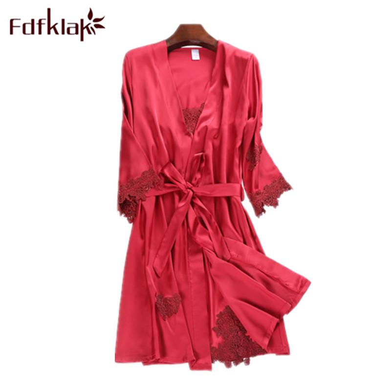 Fdfklak Spring Summer 2 Pcs Faux Silk Black Sexy Nightgown And Robe Sleepwear Women Lingerie Set With Robe M-XXL Q1008