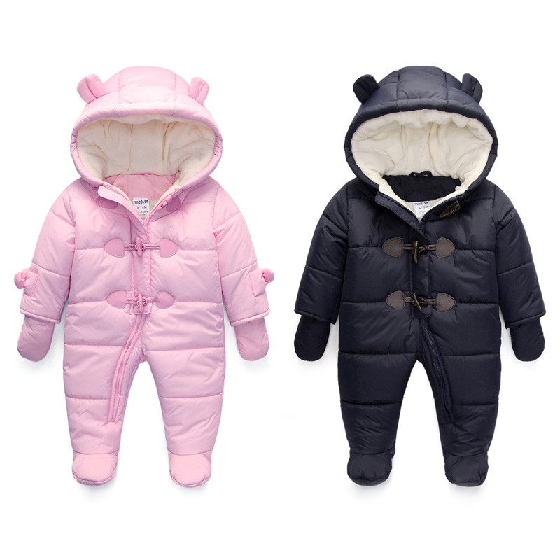 New Fashion Baby Duck Down Coats Waterproof Fleece Warm Jackets Baby Girls Boys Jumpsuit Kids Winterromper for 0-24M paul frank baby boys supper julius fleece hoodie