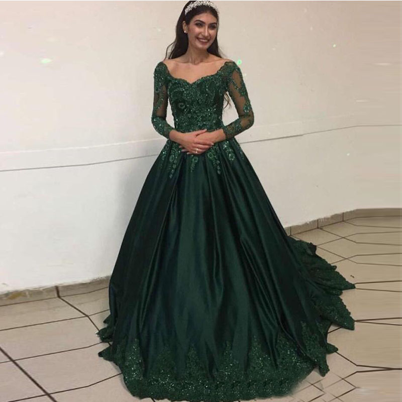 Dark Green Prom Dresses Long Sleeves V neck Appliques Beaded Satin Evening Dresses New Vestidos De