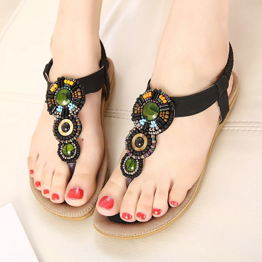 4ce38e8d7754ce Free shipping 35 40 Europe Hot 2016 Bohemian Summer Sandals Women Beaded  Slippers Girls Ladies Flat Sandals Shoes Vintage-in Women s Sandals from  Shoes