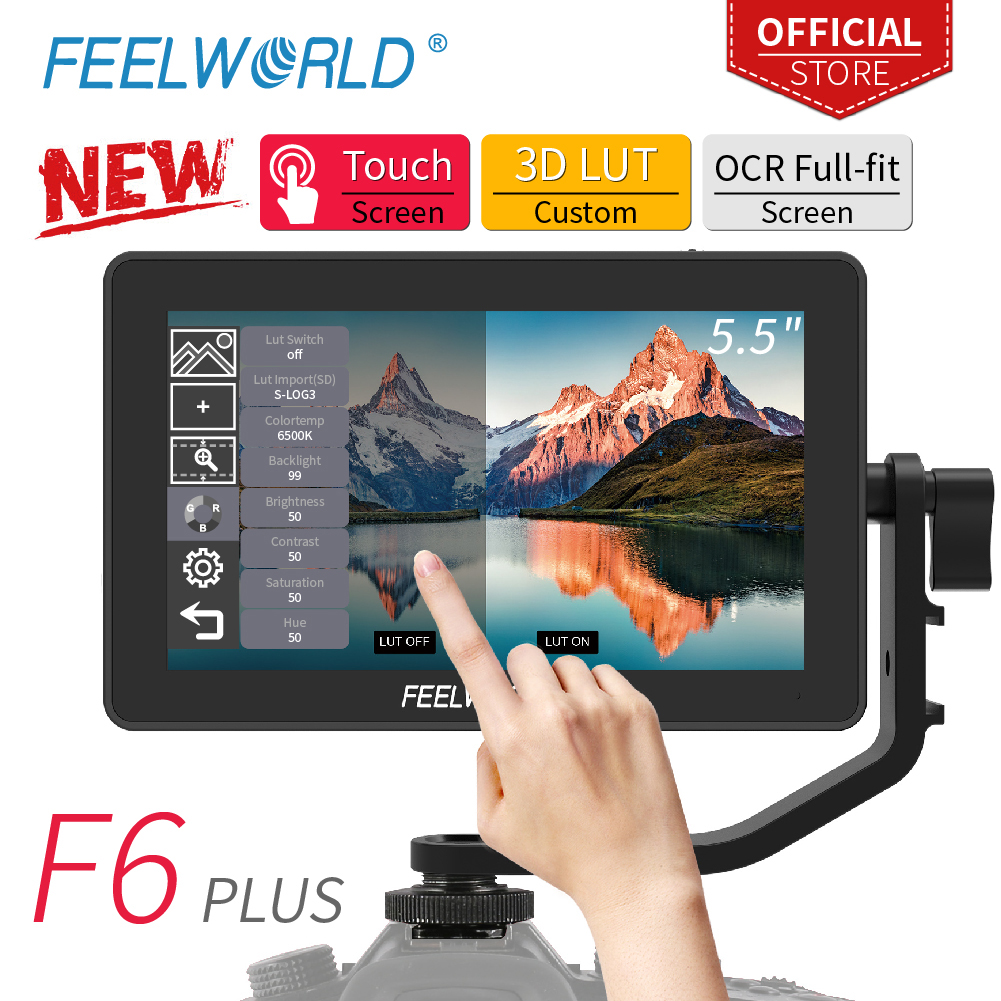 FEELWORLD F6 PLUS 5.5 Polegada on Camera Monitor de Campo DSLR 3D LUT Touch Screen IPS FHD 1920x1080 Vídeo suporte Auxiliar de foco 4K HDMI