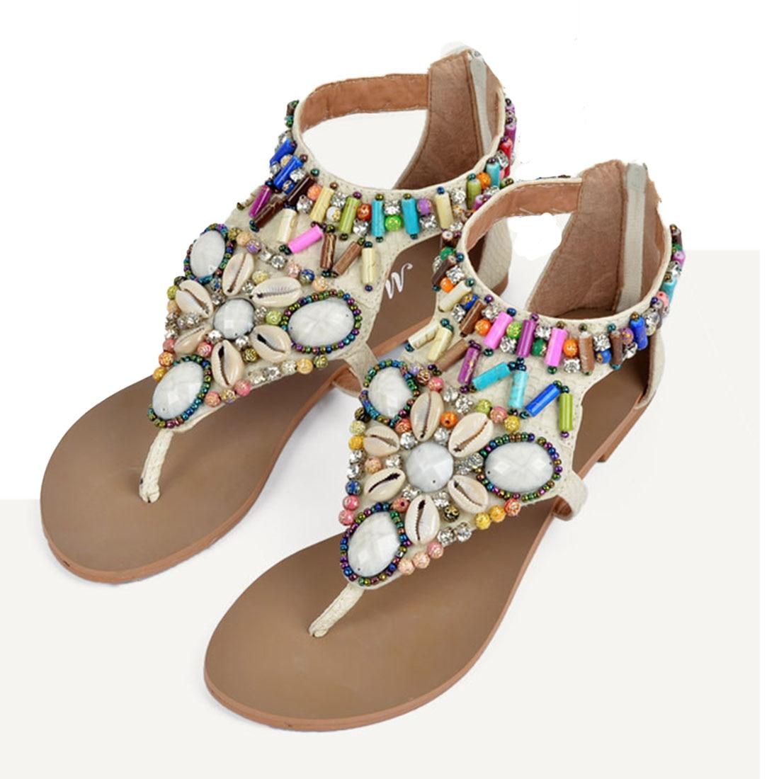 a2f171c17d37 Summer comfortable bohemia flats women sandals beachwear jpg 1100x1100 Shell  flip flops