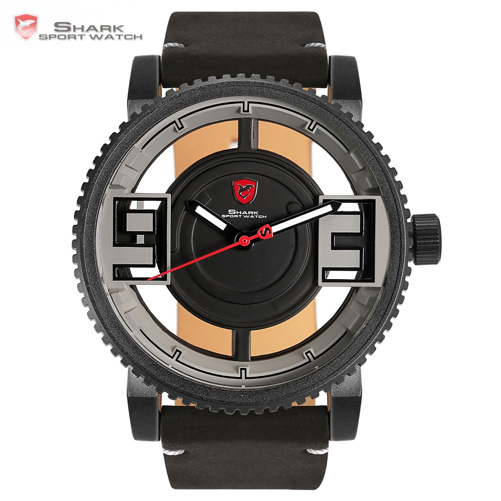 Megamouth Shark Sport Watch Creative Transparent Hollow Face Gearwheel Bezel Leather Band Quartz Men Male Casual Watches /SH545