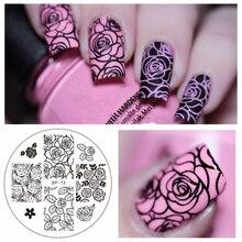 Трафаретов штамповки штамповка шаблона изображения ногтя плиты роза как искусства маникюр