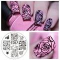Flor rosa Nail Art Stamping Template Placa Imagem NASCEU BONITA BP-73 Placas Prego Stamping Manicure Set Stencil