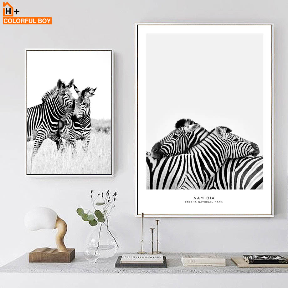 COLORFULBOY Wall Art Print Zebra Black White Nordic Posters And Prints Canvas Painting Pop Pictures For Living Room