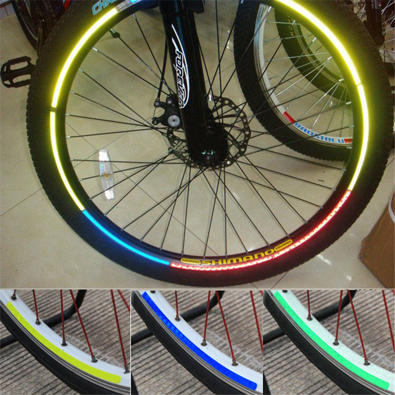 Hot Sale Wheel Colorful Reflective Bike Rim Sticker Wheel Decal Fluorescent Sticker Cycling Bicycle Accessories with package M10 ...