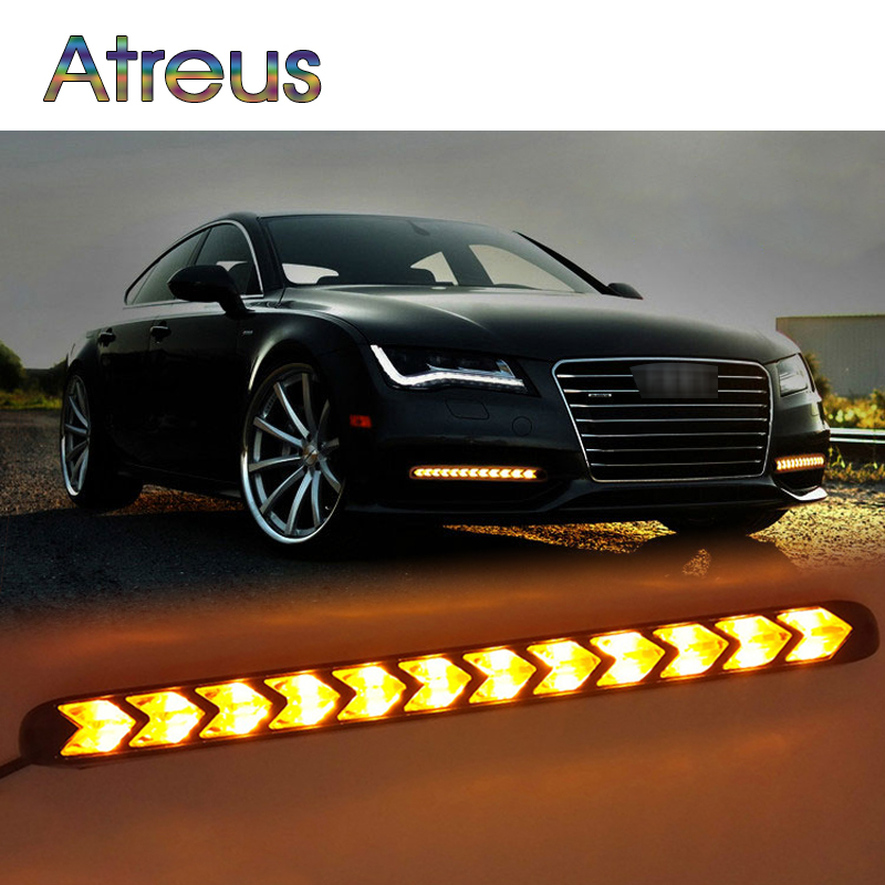 Atreus 2X Car LED Day Lights Turn Signals with Yellow Steering For VW Audi Ford BMW DRL fog lamp Brake Reverse Clearance Lights atreus 1pair car led fender side turn signals