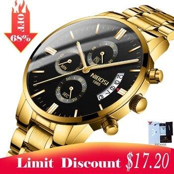 2018 NIBOSI Gold Quartz Watch Top Brand Luxury Men Watches Fashion Man Wristwatches Stainless Steel Relogio Masculino Saatler