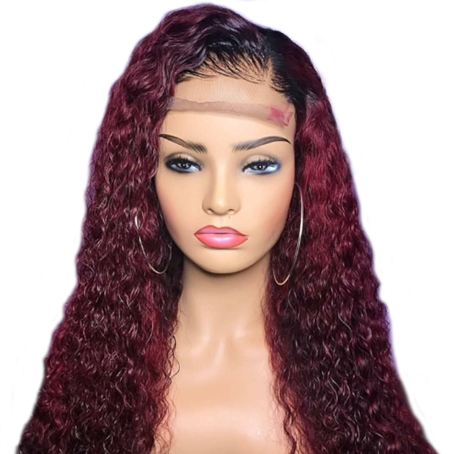 SHUMEIDA Curly Lace Front Wig Bleached Knots Glueless Lace Front Red Ombre Human Hair Wigs Pre