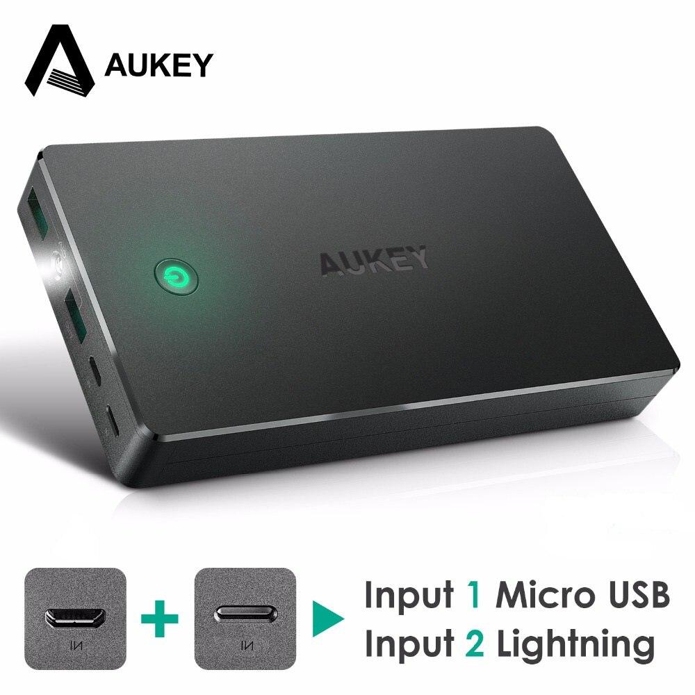 AUKEY 20000 mah Energienbank Externe Batterie Power Tragbares Ladegerät Für iPhone 8 7 6 s Für xiaomi Für Samsung