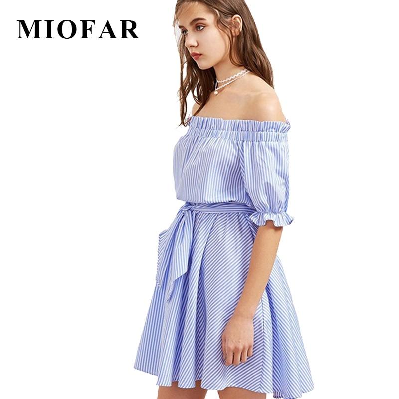 2017 verano nueva rayas azules elegantes sexy holiday party dress casual cinturón camisa de media manga estilo mujer ropa de ucrania