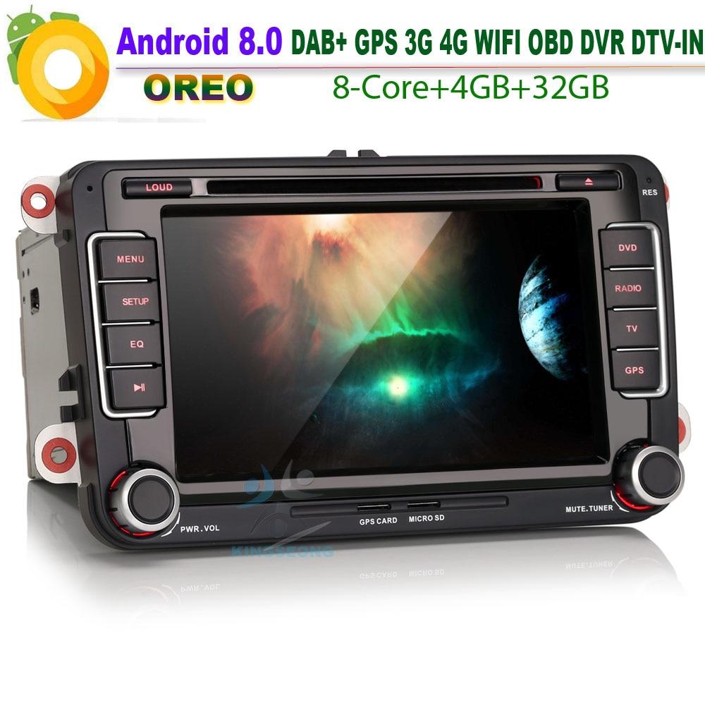 Android 8.0 DAB + Autoradio voiture DVD pour VW Golf MK5 MK6 WiFi 4G CD GPS DTV-IN NAVI Bluetooth RDS OBD BT USB SD DVR voiture stéréo