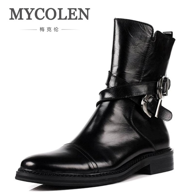 MYCOLEN Handmade Genuine Leather High Top Martin Boots Brand Classic Red  Bottom Shoes Cow Leather Men Designer Riding Shoes 831c958292c8