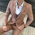 UPS de Envío Libre de Los Hombres de Color Caqui Raya Chaqueta Blazer Trajes Un Botón de Encargo de Los Hombres de La Boda Trajes A Medida Para Los Hombres (chaqueta + pantalones + chaleco)