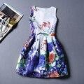 Nueva Llegada de Las Mujeres de la Vendimia Del O-cuello Sin Mangas Floral Vestido de Oficina Moda vestido Plisado Vestidos de Fiesta Más El Tamaño de Las Señoras Del Otoño
