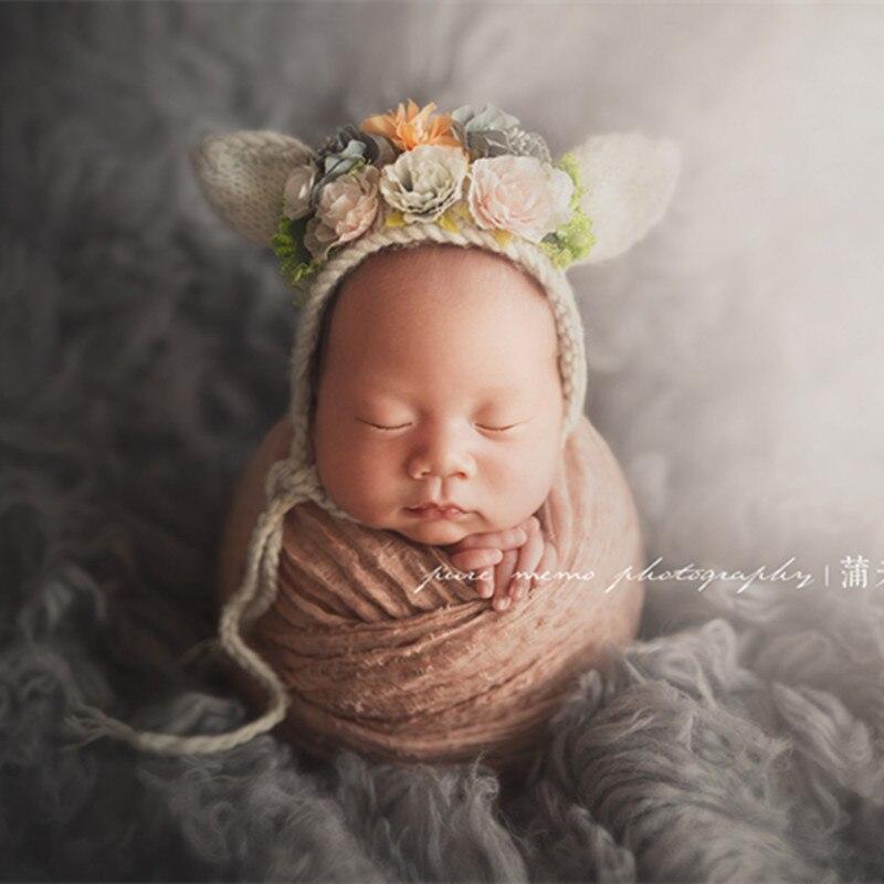 05b17b62a5918 Hand Knitted baby bonnet flower hat photography props Newborn Bunny bear  bonnet