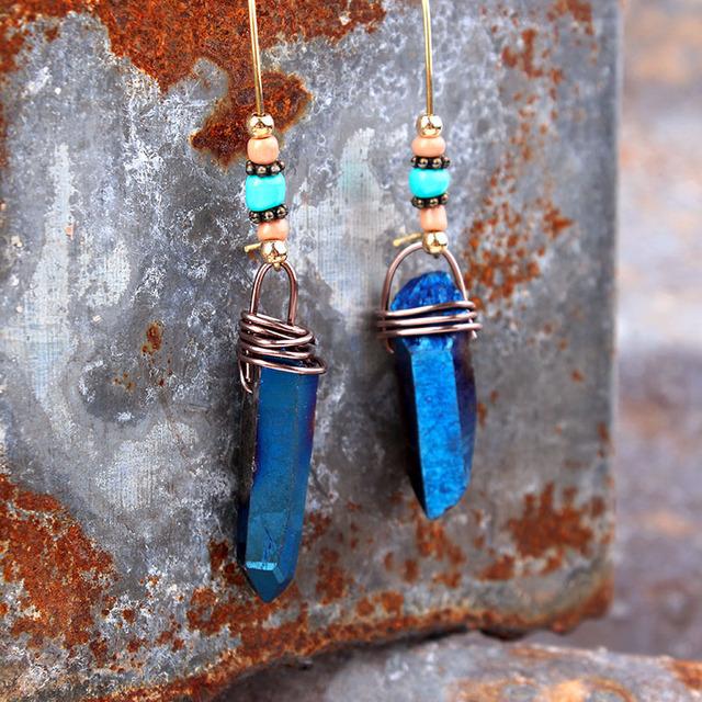 Titanium Aqua Aura Quartz Crystal Drop Earrings