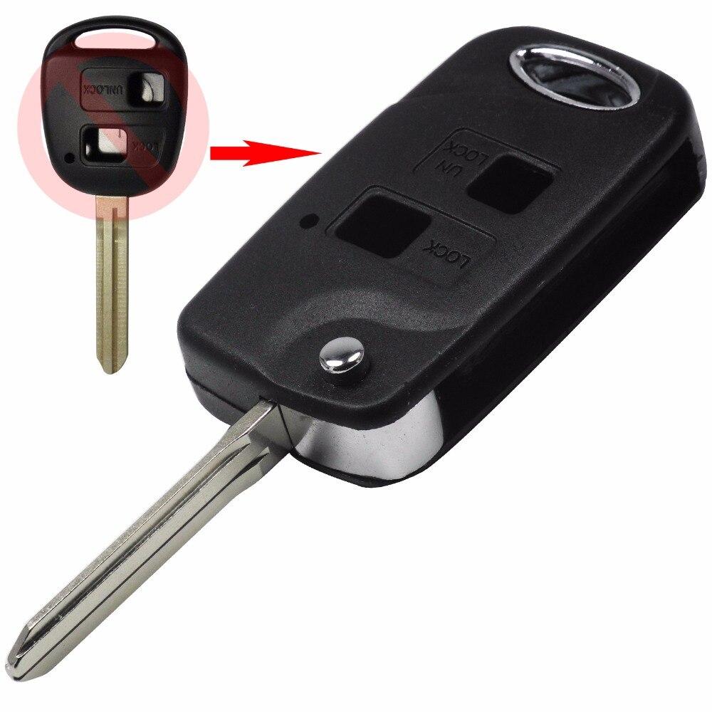 Jingyuqin folding flip 2 button remote key shell for toyota rav4 avalon echo prado tarago camry