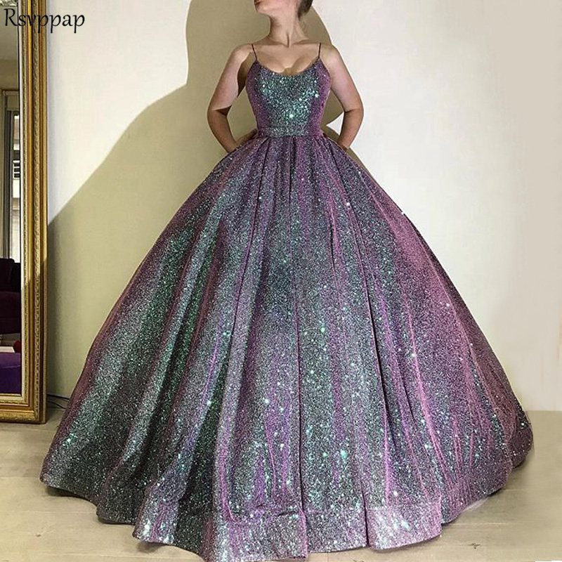 Long Glitter Arabic Style   Evening     Dresses   2018 Puffy Ball Gown Spaghetti Strap Oman Women Formal Party Gown