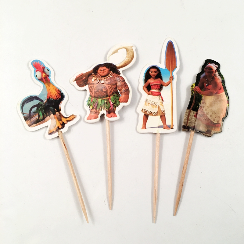 72pcs Cartoon Moana Rooster Princess Ocean Sailboat Cupcake Toppers Picks Baby Kids Birthday Wedding Party Supplies Decorations