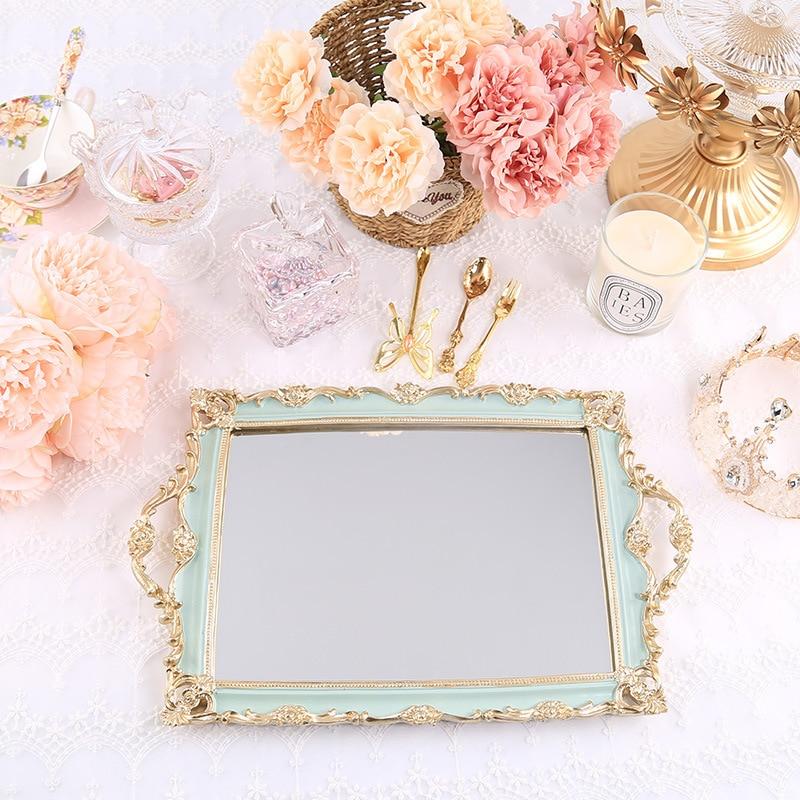 Rectangular Resin Mirror Green Storage Trays Jewelry Dish Dessert Cake Plate Kitchen Organization Cosmetics Wedding Ring