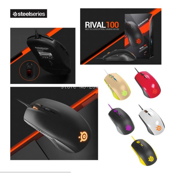 Brand New SteelSeries Rival 100 Gaming Mouse Mice USB Wired Optical 4000DPI Mouse With Prism RGB Illumination For LOL CS steelseries sensei [raw] gaming mouse steelseries engine brand new free