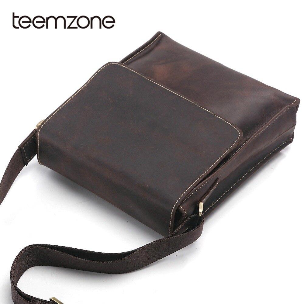 Teemzone Brand Genuine Leather Crossbody Bag Men Slim Male Shoulder Bag Business Travel iphone/iPad Bag Men Messenger Bags T8864 цена 2017