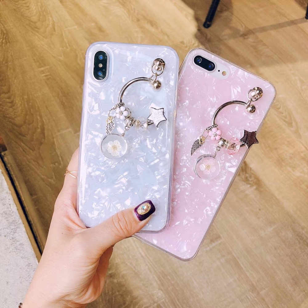 For iPhone 6 6s 7 8 X XS MAX XR for Samsung galaxy s7 s8 s9 s10 plus note 8 9 Cute crystal flower tassel shell phone case cover