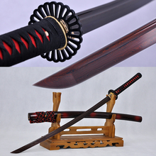 Japanese Samurai Katana Sword Folded Damascus Steel Black & Red Full Tang Blade Iron Tsuba Handmade Custom Sharp Can Cut Bamboos