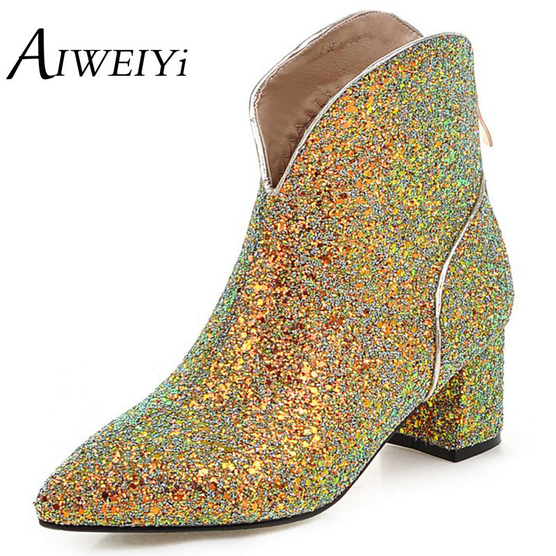 ФОТО AIWEIYi Big size 34-43 Women Ankle Boots Glitter Thick High Heels Zipper Warm Winter Fur Shoes Pointed Toe Platform Snow Boots