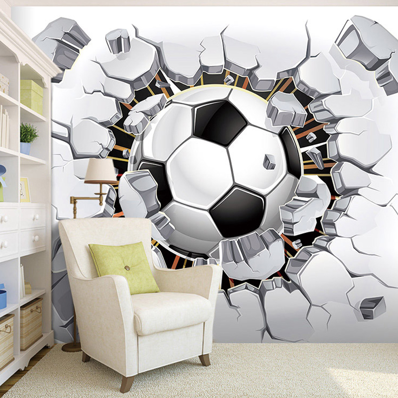 Custom Any Size 3D Stereoscopic Photo Wallpaper For Kids Room Modern Creative Football Broken Wall Mural Bedding Room Backdrop