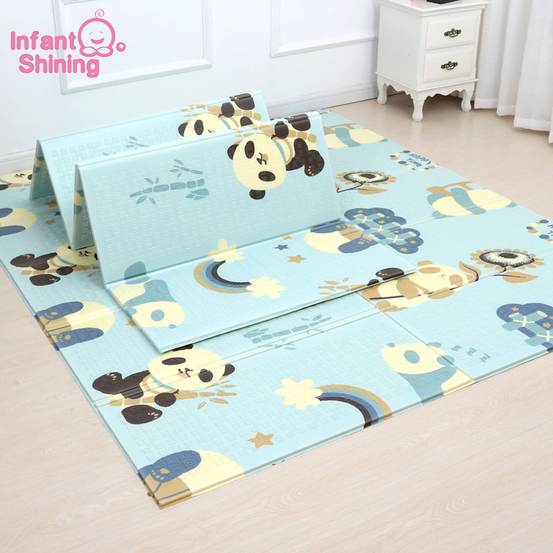 Infant Shining 180X200CM 71X79IN Baby Folding Play Mat Kids Rug Carpet 1CM Thickness Baby Game Mat